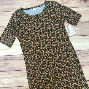 NWT Lularoe Julia Dress Green & Orange L
